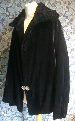 Vintage 1930s Silk Velvet Opera Coat Statement Collar Art Deco Original Antique