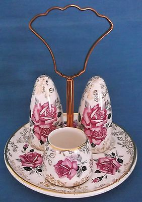 VINTAGE c1950s PINK ROSES GOLD CHINTZ CRUET OLD FOLEY JAMES KENT ENGLAND TABLE