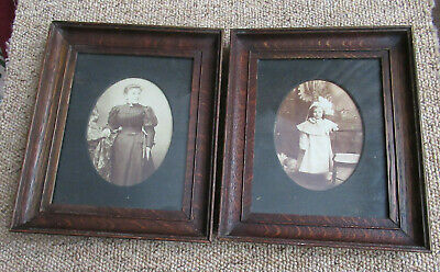 Beautiful Pair Of Antique Vintage Picture Frames With Old Photos Lady And Girl