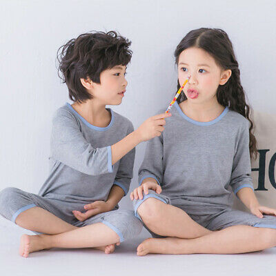 Kids Girl Boy Casual Fashion Solid Color Round Neck Sleepwear Tops+pants Child