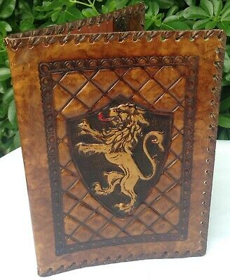 Stunning Lion Rampant Hand Worked Tooled Leather Silk Deluxe Vuillard Book Cover