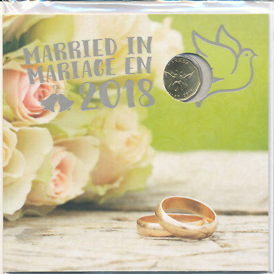 CANADA MARRIED IN 2018 w/ EXCLUSIVE DOVES & RINGS Loonie Uncirculted Gift Set