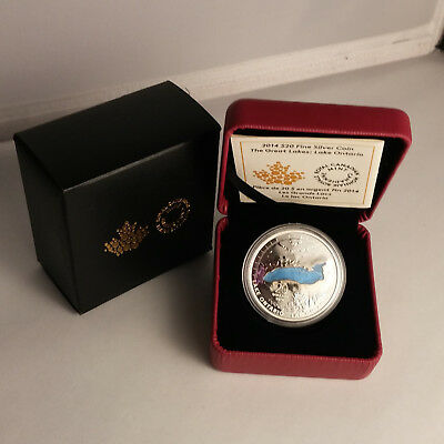 CANADA 2014 $20 The Great Lakes Lake Ontario Enamel Proof Fine Silver Coin