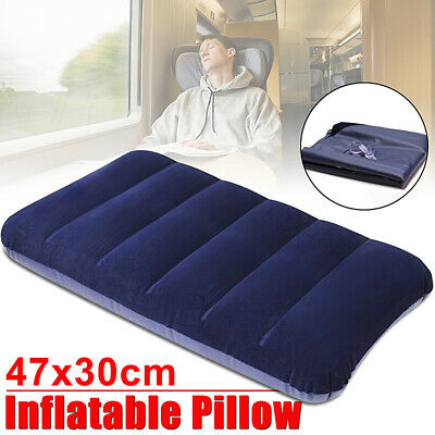 LARGE Inflatable Flocked Pillow Camping Sleeping Soft Travel Blow Up Blue