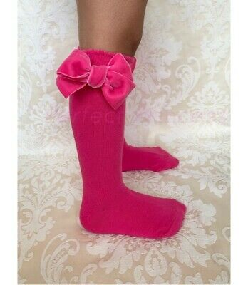 Spanish Baby Girls Knee High Velvet Bow Socks