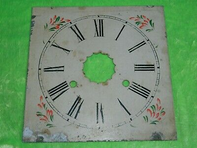 Antique square, painted, metal clock face / dial - Possible longcase / American