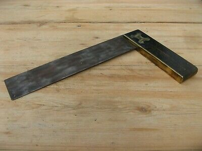 """Antique Vintage Brass Try Square 14"""" carpentry woodwork"""