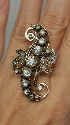 Huge Antique Diamond 3.28 ct 19 th c Victorian French ring gold rose 14k
