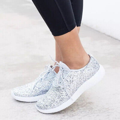 Womens Ladies Running Sports Glitter Sneakers Casual Lace Up Gym Trainers Shoes