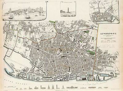 Map Antique Sduk 1836 Liverpool City Plan Old Large Replica Poster Print Pam1200