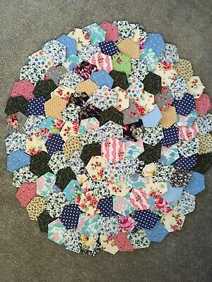 Brand New Ready Tacked Patchwork Hexagons X 130  100% Cotton