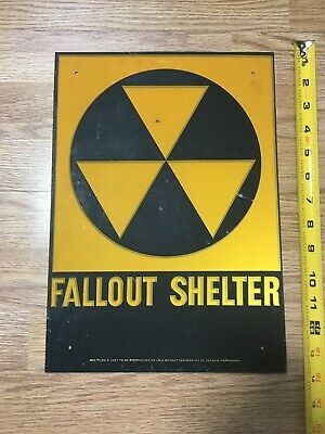 "SPRING SALE! VINTAGE 1960's FALLOUT SHELTER SIGN GALVSTEEL 10""x14"" AGE SPOTS"