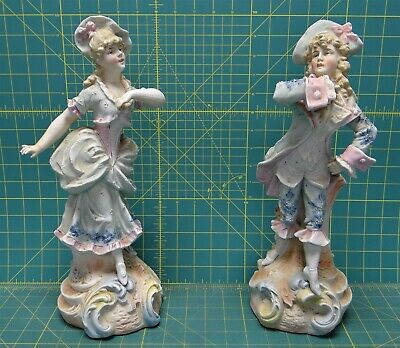Victorian Bisque Porcelain Bathing Beauties German French Style Figurines 14.5""