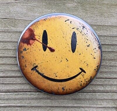 "WATCHMEN BUTTON SMILEY FACE PIN 2.25"" DC Doomsday Clock 12 Flash 22 Batman 87"