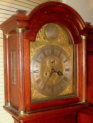 "Antique Oak  ""Bigglewade ""  Brass  Dial 8 Day Grandfather / Longcase Clock"