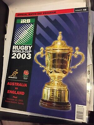 Rugby World Cup 2003 Final Programme England Vs Australia World Cup Winners