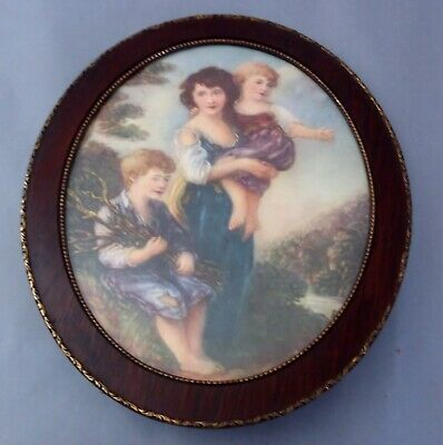 Gorgeous Antique Victorian Lithograph in Oval wood frame with brass trim