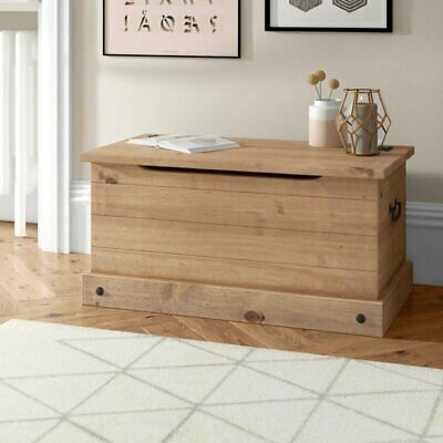 Rustic Waxed Pine Wooden Blanket Box Storage Chest Trunk Coffee Table Ottoman UK