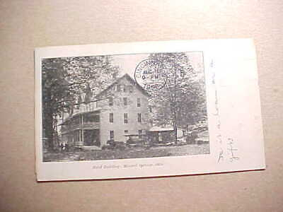 1908 Mineral Springs Ohio Hotel Building With Vehicle In Front Postcard Vg+