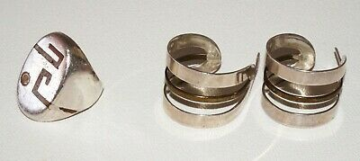 3PC Mexican Silver Lot Hoop Earrings & Ring Sz6 Made By Chato Los Castillo (RgR)