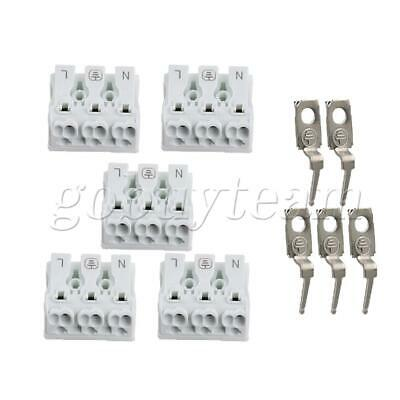 5x Terminal Blocks 450V Quick Wires Cables Connectors 3Positions White