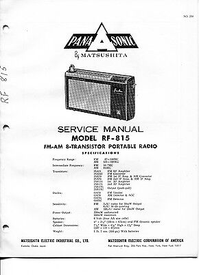 Vintage Panasonic SERVICE MANUAL- Model RF-815 FM/AM 8-Transistor Portable Radio