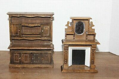 Vtg Miniature Hand Crafted Wooden Dollhouse Furniture Fireplace & Kicthen Hutch