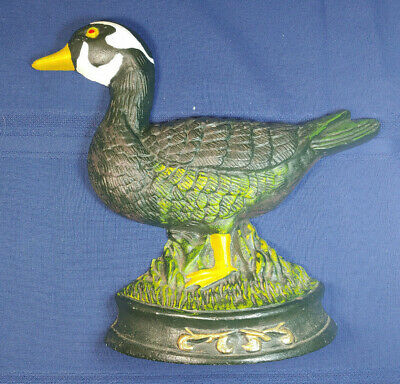 Cast Iron painted Duck Door Stop Garden Addition 5lbs, stands up nicely