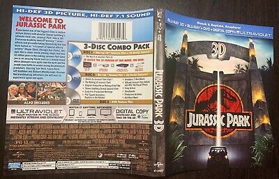 Jurassic Park 3D Cover Insert + Valid Code Paper From Bluray 3D,No Case Or Disks