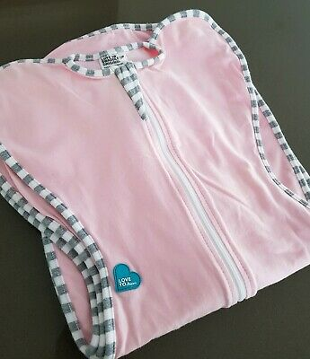 NWOT LOVE TO DREAM Pink Grey Stripe Zip Up Swaddle 3-6 kgs 1 Tog