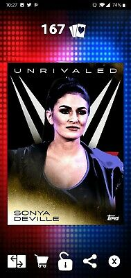 Topps WWE SLAM Digital 2019 Unrivaled Sonya DeVille Gold Base 53CC