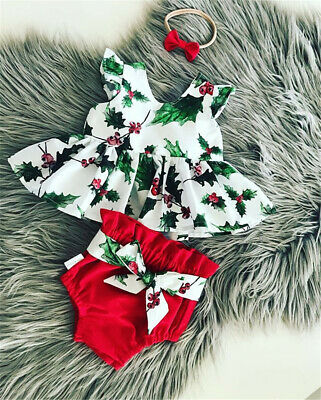 AU Newborn Christmas Baby Girl Romper Tops Tutu Dress XMAS Outfits Set Clothes