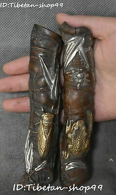 Collect Bronze Silver Gilt Bamboo Cicada Toad Spittor Tree Town ruler Pair