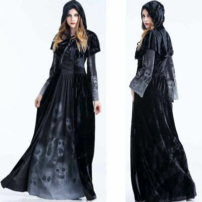 Adult Womens Black Witch Costume Uniform Halloween Party Cosplay Fancy Dress
