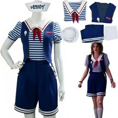 Stranger Things Season 3 Robin Scoops Ahoy Dress Cosplay Costume Uniform Outfit