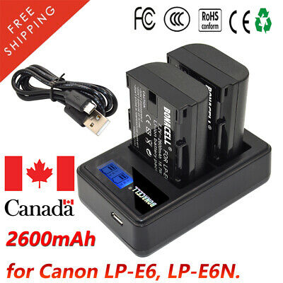 2600mAh LP-E6 Battery / Charger for Canon EOS 80D 70D 60D 5D Mark II III IV GM