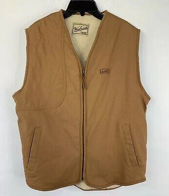 Woolrich Mens Medium Faux Sherpa Lined Brown Canvas Shooting Vest, Full Zip EUC