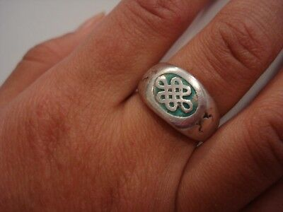 vtg Lovely Antique Gift~Chinese Qing Dynasty Pure Silver ring~Small Sz5~Free SHP