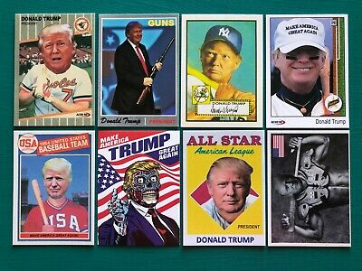 (8) DONALD TRUMP Mantle Griffey MAGA Baseball Cards + BONUS Glock Gun Stickers!!