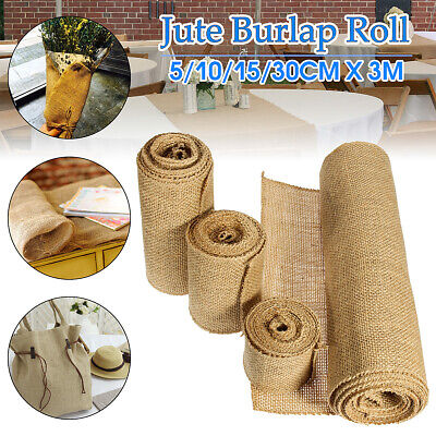 3M X 5-30cm Burlap Natural Jute Fabric Hessian Ribbon Roll Wedding Party Decor
