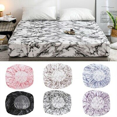 Full Elastic Deep Fitted Sheet Queen/King/Super Marbled Bed Mattress Cover