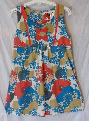 Girls Next Blue Red Floral Poppy Long Line Sleeveless Tunic Top Age 12 Years