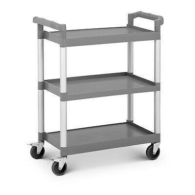 Plastic Service Trolley Dish Serving Trolley Drinks Cart Kitchen 3 Tiers 60kg