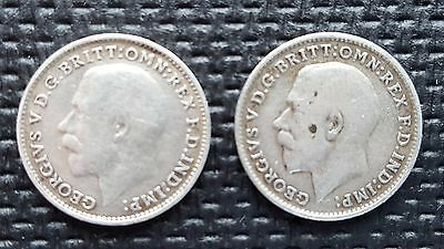 2 Antique, Three Pence, Solid Silver, King George, 1914 /1916,In Good Condition.