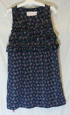 Girls Next Blue Red Ditsy Floral Ruffled Sleeveless Tunic Dress Age 15 Years