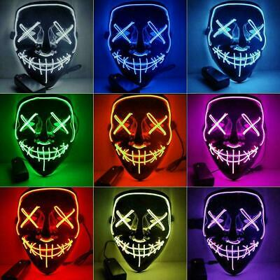 Neon Stitched Mask LED Wire Light Up Christmas & Rave Purge Party Glow In Dark