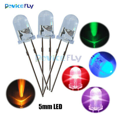 5mm Red/Green/Blue/Yellow/White/Purple Round LED Water Clear  Diodes Light Kit