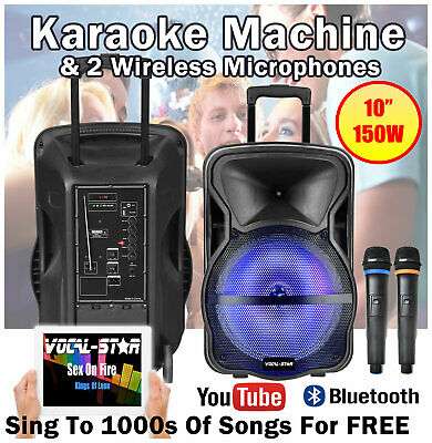 "VS Portable Bluetooth Karaoke Machine Speaker 150w 2 Wireless Mics 10"" LED Light"