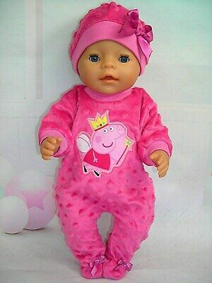 """Dolls clothes for 17"""" Baby Born doll~PEPPA PIG HOT PINK BOBBLE JUMPSUIT~ HAT"""