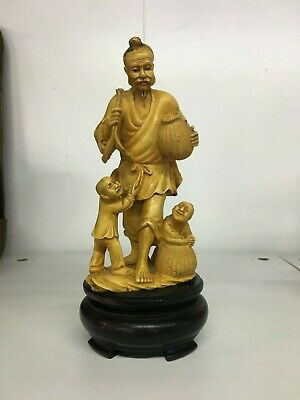 Antique Chinese Carved Figurines On Wooden Plinth